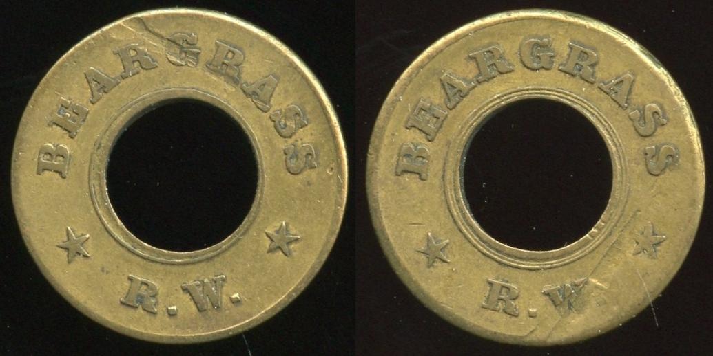 TRANSPORTATION -- Kentucky  Lot  105  BEARGRASS / (c/ham) / R.W. // (same), br rd 21mm, scrape both O&R.  KY 510Z $85.    G2-MB $85  No Bid