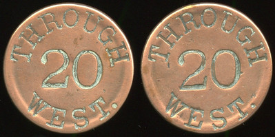 TRANSPORTATION -- West Virginia  Lot  287  THROUGH / 20 / WEST. (a/i) // (same), cu rd 28mm.  WV 890L $100    G3-MB $100 No Bid