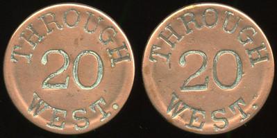 TRANSPORTATION -- West Virginia  Lot  287  THROUGH / 20 / WEST. (a/i) // (same), cu rd 28mm.  WV 890L $100    G3-MB $100 No Bid