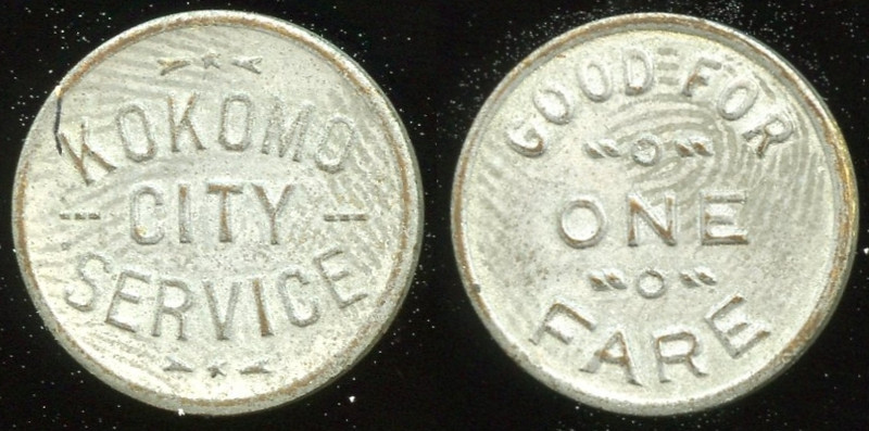 TRANSPORTATION -- Indiana<br /> <br /> Lot  82  KOKOMO / CITY / SERVICE // Good For / One Fare, wm-washed br rd 16mm.  IN 510D $85    G4-MB $85 Sold $110.00