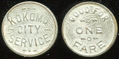 TRANSPORTATION -- Indiana  Lot  82  KOKOMO / CITY / SERVICE // Good For / One Fare, wm-washed br rd 16mm.  IN 510D $85    G4-MB $85 Sold $110.00