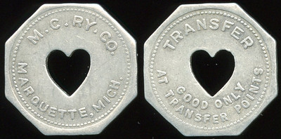 TRANSPORTATION -- Michigan  Lot  152  M.C. RY. CO. / (c/o ht) / MARQUETTE, MICH. // Transfer / (c/o) / Good Only / At Transfer Points, al oc 25mm.  MI 605Oa $75    G3-MB $75 Sold $95.00