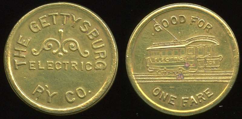 TRANSPORTATION -- Pennsylvania<br /> <br /> Lot  236  THE GETTYSBURG / ELECTRIC / R'Y CO. // Good For / (streetcar) / One Fare, br rd 23mm.  PA 405A $75    G4-MB $75 Sold $155.00