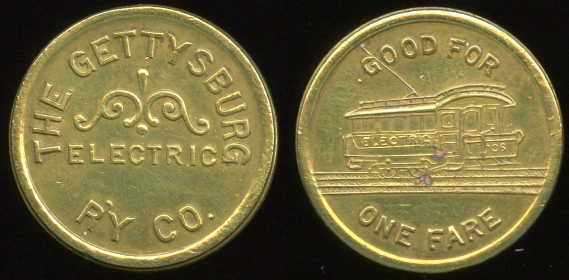 TRANSPORTATION -- Pennsylvania  Lot  236  THE GETTYSBURG / ELECTRIC / R'Y CO. // Good For / (streetcar) / One Fare, br rd 23mm.  PA 405A $75    G4-MB $75 Sold $155.00