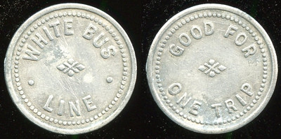 TRANSPORTATION -- New York  Lot 174  WHITE BUS / LINE // Good For / One Fare, (Binghamton), al rd 20mm.  NY 10M $75   G4-MB $75  No Bid