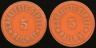 TRANSPORTATION -- Indiana  Lot  83  LAFAYETTE STREET / 5 / RAILWAY // (same), brownish red ce rd 23mm.  IN 520A $75.    G3-MB $75 Sold $95.00