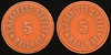 TRANSPORTATION -- Indiana<br /> <br /> Lot  83  LAFAYETTE STREET / 5 / RAILWAY // (same), brownish red ce rd 23mm.  IN 520A $75.    G3-MB $75 Sold $95.00