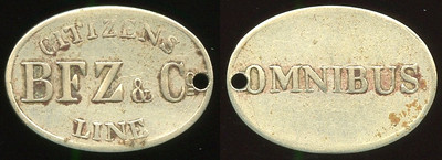 TRANSPORTATION -- Maryland  Lot  115  CITIZENS / BFZ & CO / LINE // Omnibus, (Baltimore), wm ov 22x16mm, small hole 3:00.  MD 60B $150.    G3-MB $150   Sold $201.00
