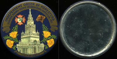 M038  INDEPENDENT ORDER OF FORESTERS / SOUVENIR PANAMA-PACIFIC INTERNATIONAL EXPOSITION, 1915 / (IOF emblem) (bear) / (flowers on either side of tower) / TOWER OF JEWELS, edge not  imprinted, multicolored celluloid rd 53mm.  Mirror: clean; celluloid: very light scratches.    G4-EV8