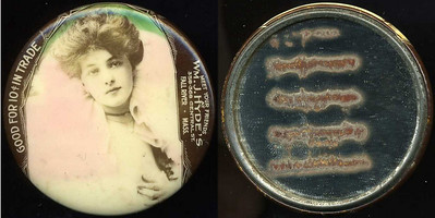 M056  GOOD FOR 10¢ IN TRADE / (Evelyn Nesbitt facing – Dunn type 12) / MEET YOUR FRIENDS / AT / WM. J. HYDE'S / 358 – 368 CENTRAL ST. / FALL RIVER MASS., edge imprinted: CRUVER MFG. CO. CHICAGO H.P.P., multicolored celluloid rd 56mm.  Mirror: four dark bars; celluloid: very light rubbing.   G4-EV9
