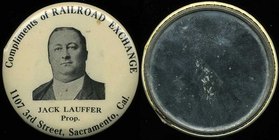 M037  COMPLIMENTS OF RAILROAD EXCHANGE / (man facing) / JACK LAUFFER / PROP. / 1107 3RD STREET, SACRAMENTO, CAL., edge not imprinted, black/white celluloid rd 56mm.  Mirror: clean; celluloid: light rubbing, small section missing at 10:00 along edge.   G3-EV8