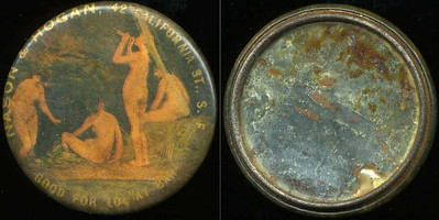 M030  SOLD!  NASON & HOGAN, 42 CALIFORNIA ST., S.F. / (four nude ladies bathing – Dunn type 84 ) / GOOD FOR 10¢ AT BAR // edge not imprinted, multicolored celluloid rd 44mm.  Mirror: 50% silvering; celluloid: scratches, discoloration.  CA-S30-N5A URS-1.   G2-EV9