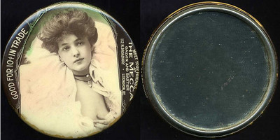 M055  GOOD FOR 10¢ IN TRADE / (Evelyn Nesbitt facing – Dunn type 12) / MEET YOUR FRIENDS / AT / THE MECCA / GALVIN AND BAXTER / 112 N. BROADWAY – LEXINGTON, KY., edge imprinted: CRUVER MFG. CO. CHICAGO H.P.P., multicolored celluloid rd 56mm.  Mirror: clean; celluloid: very light rubbing, light foxing.   G4-EV9