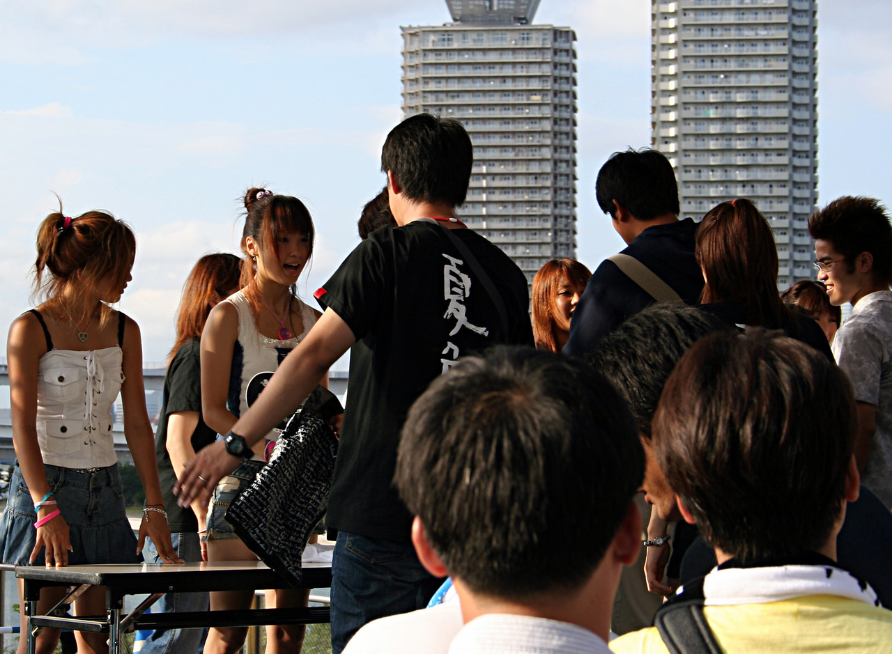 A girl band in Tokyo.  I hear they're popular but so is Hillary Duff