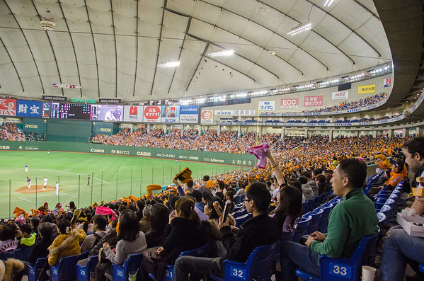 Watching a Japanese baseball game at the Tokyo Dome.