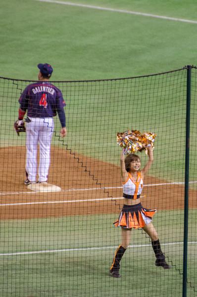 Unlike US teams, Japan baseball teams have cheerleaders!