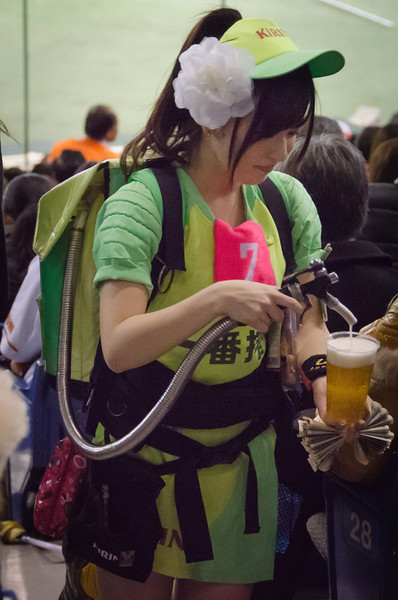Japan's beer delivery girls, pouring drought beer at Japanese baseball games.