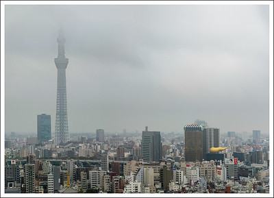 These aerial pictures of the sky tree and surrounding area were taken from the 26th floor of the Asakusa View Hotel where we had lunch on my birthday.  The sky was cloudy and spitting rain.