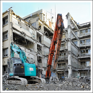 Tearing down the old Nihon Daigaku campus near our house.  It has sat empty for over 20 years because of being full of asbestos.  It took a long time to tear it down.
