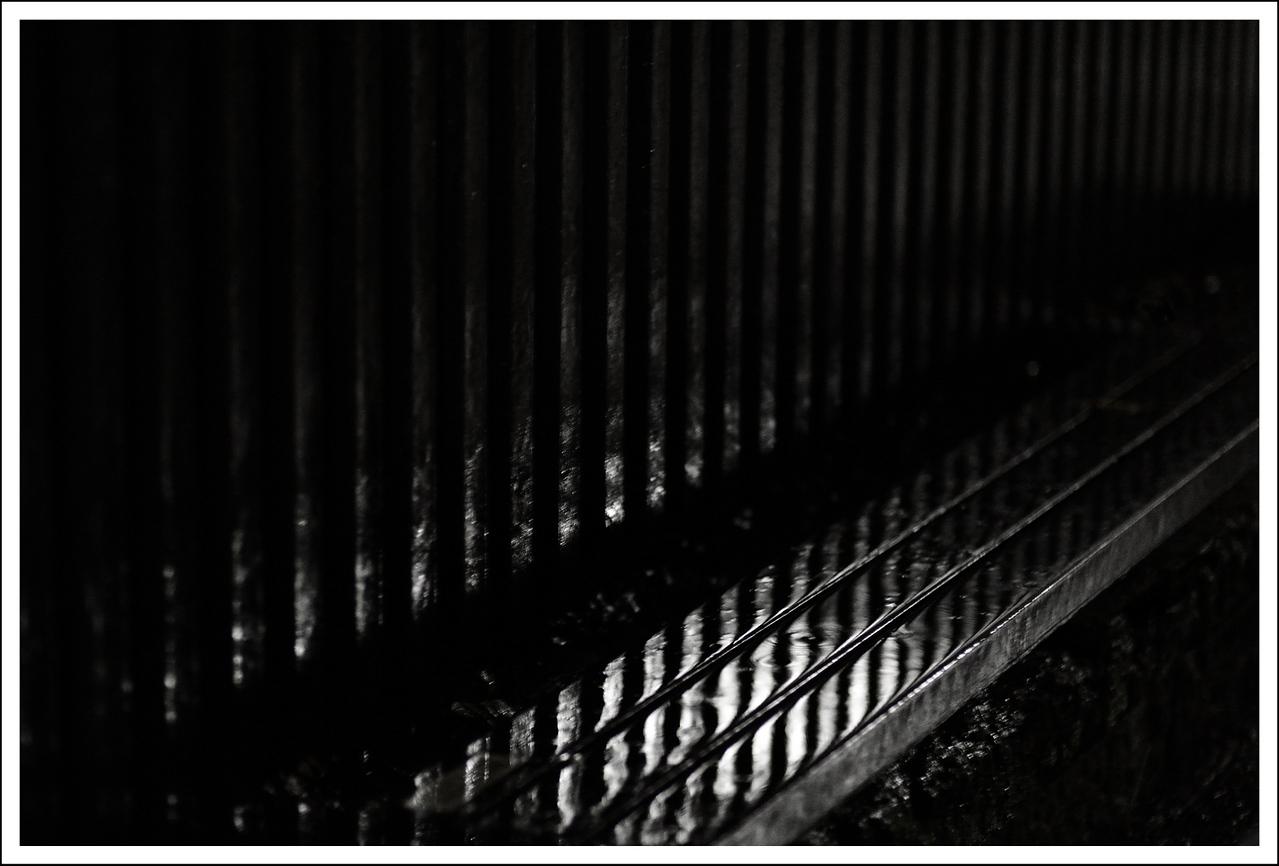 The bench in front of Setagaya Kannon, on a rainy night.