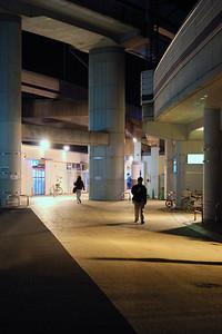 Futako Tamagawa station at night.