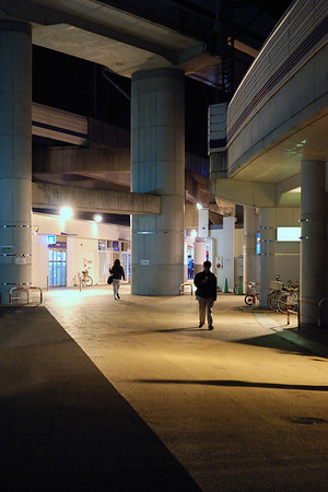 Futako Tamagawa station at night.
