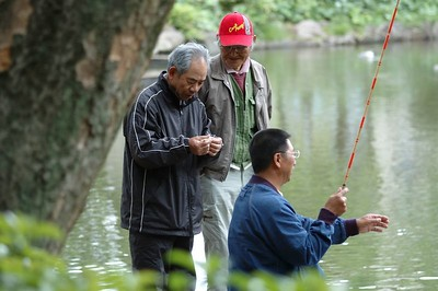 Fishermen at Arisugawa park.