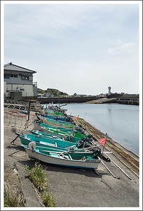Small fishing boats.  The reel on the front is for pulling in the small nets you can see drying in the distance.