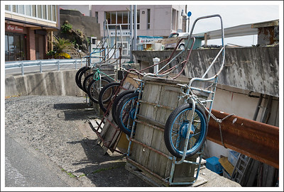 Wooden carts for hauling equipment and maybe fish too.