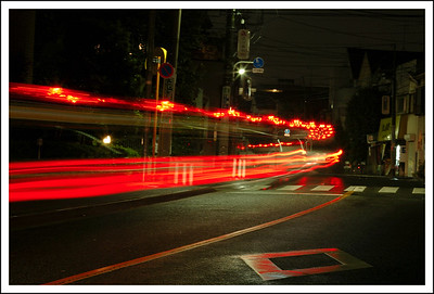 A poice car at night.
