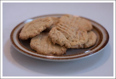 Peanut butter cookies made with Frankie.