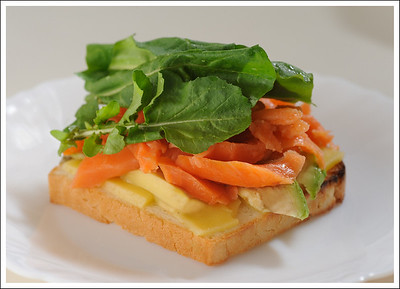 My lunch - lox and cheese, avocado and rucola on rice bread.