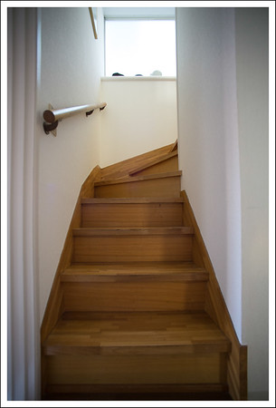 Our narrow staircase.  This limits the kind of furniture we can have in the kitchen and living room.