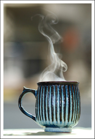 Hot coffee on a cold morning.