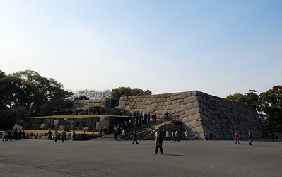 The stone wall foundation of the main donjon of Edo Castle which was built in 1607. The donjon was destroyed by fire in 1657.