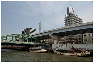 Yakatabune and the Sky Tree.  These are chartered for parties on the river, especially at night.