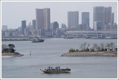 Yakatabune in the bay at Odaiba