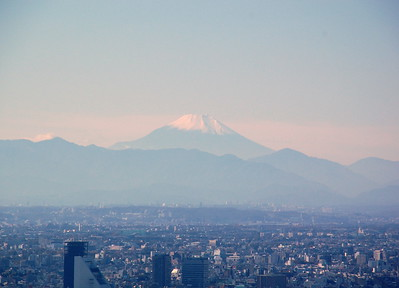 Mount Fuji, viewed from Ikebukuro – 98 km away