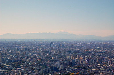Mount Fuji, viewed from Ikebukuro – 98 km away