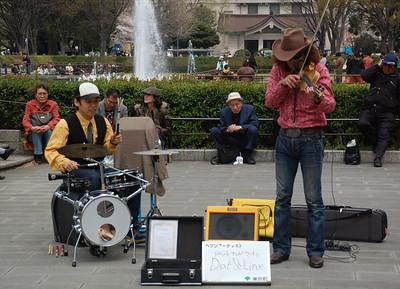Street performers in Ueno Park