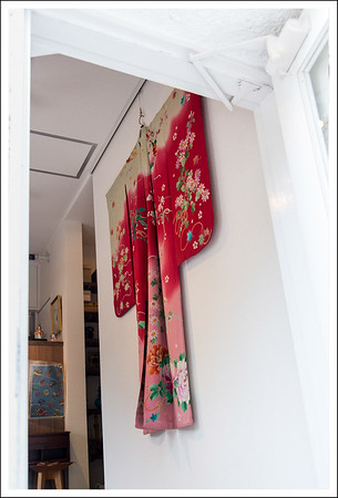 This shop was selling dishes, but I really liked the kimono on the wall.