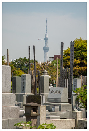 Sky Tree and a blimp from the cemetery