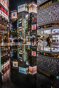Reflection at Ginza on a wet evening.