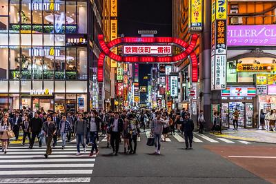 Colourful Shinjuku Kabukichio District in Tokyo.