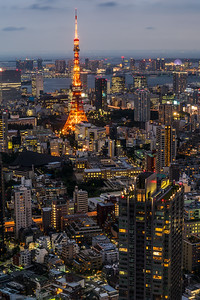 View of Tokyo Tower at Twilight.