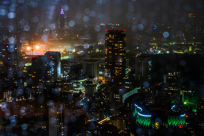 View of Shinjuku skyline on a rainy evening.