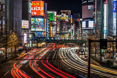 Light trails at Shinjuku at night.