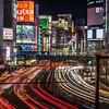 Light trails at Shinjuku at night.