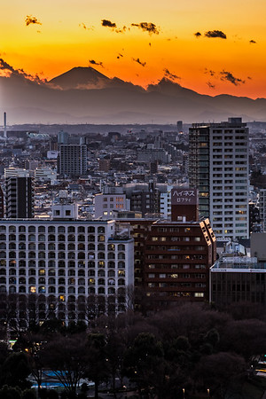 Mount Fuji at sunset.