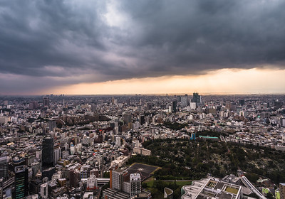 Tokyo skyline at sunset.